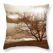 Tree In Storm Throw Pillow