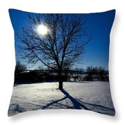 Tree Into Sun On A Winter Snowy Afternoon Throw Pillow
