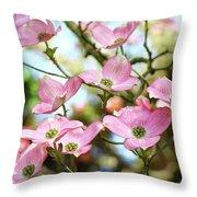 Tree Landscape Pink Dogwood Flowers Baslee Troutman Throw Pillow