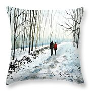 Tree Lined Stroll Throw Pillow