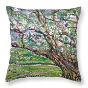 Tree, Loom Of Light And Life Throw Pillow