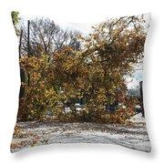 Tree Meets Hurricane Sandy By The Fair Lawn Nj Post Office Throw Pillow