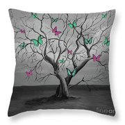 Tree Of Butterflies  Throw Pillow