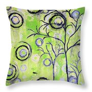 Tree Of Life Spring Abstract Tree Painting  Throw Pillow