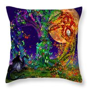 Tree Of Life With Owl And Dragon Throw Pillow