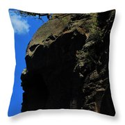 Tree On A Cliff At Battleship Rock New Mexico - 003 Throw Pillow