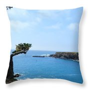 Tree On A Coastline Throw Pillow