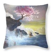 Tree On Cliff Throw Pillow