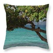 Tree Over Sapphire Beach Throw Pillow