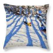 Tree Shadows Morzine Throw Pillow by Andrew Macara