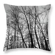 Tree Silhouette Bw Throw Pillow