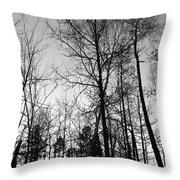 Tree Silhouette II Bw Throw Pillow