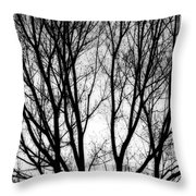 Tree Silhouettes In Black And White Throw Pillow