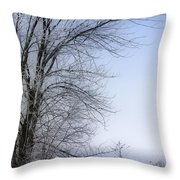 Tree-snow-fog Throw Pillow