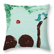 Tree With Blue Birds Throw Pillow