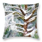 Tree With White Fluffy Snow Throw Pillow