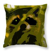 Treed Raccoon Throw Pillow