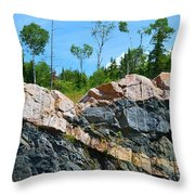 Trees Above The Pink And Grey Rock  Throw Pillow