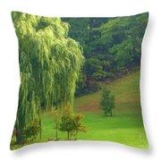 Trees Along Hill Throw Pillow