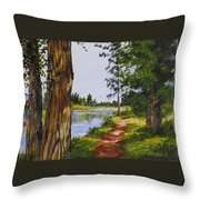 Trees Along The River Throw Pillow
