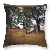 Trees And Cabin Throw Pillow