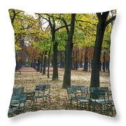 Trees And Empty Chairs In Autumn Throw Pillow