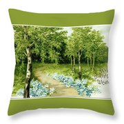 Trees And Flowers Country Scene Throw Pillow