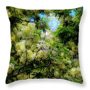 Trees And Flowers Hawaii Throw Pillow