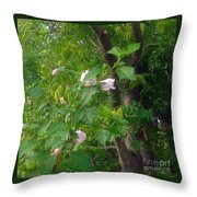 Trees And Hibiscus Bush Merge Throw Pillow