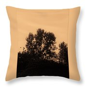 Trees And Geese In Sepia Tone Throw Pillow