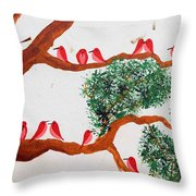 Trees And Red Birds 1 Throw Pillow