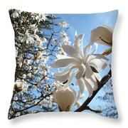 Trees Art Prints White Magnolia Flowers Baslee Troutman Throw Pillow