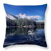 Trees At The Lakeside, Yellowstone Throw Pillow