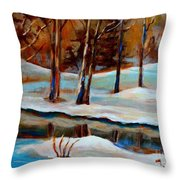Trees At The Rivers Edge Throw Pillow