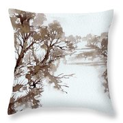 Trees By A River Throw Pillow