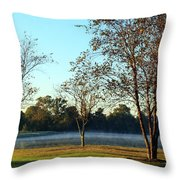 Trees By The Water Throw Pillow