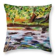 Trees Edge The Pond Throw Pillow