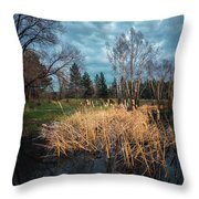 Trees In A Fog On A Background Of The River In Summer Morning  Throw Pillow