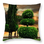 Trees In A Park Of Limassol City Sea Front In Cyprus Throw Pillow