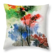 Trees In Colors Throw Pillow