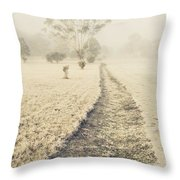 Trees In Fog And Mist Throw Pillow