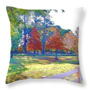 Trees In Park 1 Throw Pillow