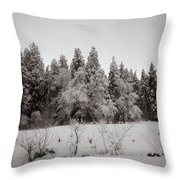 Trees In Snow Throw Pillow