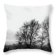Trees In The Mist Throw Pillow