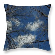 Trees In The Spring With Clouds Throw Pillow