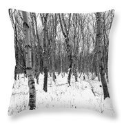 Trees In Winter Snow, Black And White Throw Pillow