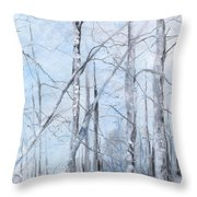 Trees In Winter Snow Throw Pillow