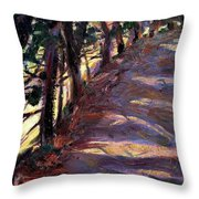 Trees Line The Road Throw Pillow