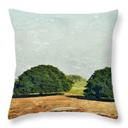 Trees On Field Throw Pillow