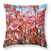 Trees Pink Spring Dogwood Flowers Baslee Troutman Throw Pillow